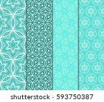 set of geometric pattern in... | Shutterstock .eps vector #593750387