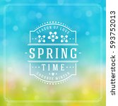 spring badge vector typographic ... | Shutterstock .eps vector #593752013