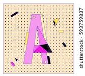 vector letter a memphis style... | Shutterstock .eps vector #593759837