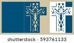 christening invitation. easter... | Shutterstock .eps vector #593761133