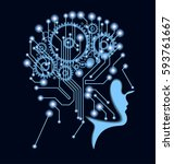 the future of technology.... | Shutterstock .eps vector #593761667