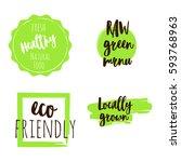 set of green logos  labels.... | Shutterstock .eps vector #593768963