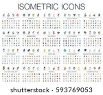 Vector illustration of isometric flat icons for business, bank, social media market, justice, internet technology, shop, education, sport, healthcare, art and construction. Color 3d web symbols set. | Shutterstock vector #593769053