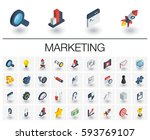 isometric flat icon set. 3d... | Shutterstock .eps vector #593769107