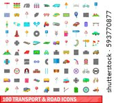 100 transport and road icons... | Shutterstock .eps vector #593770877
