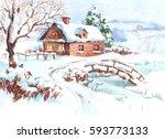 Winter Village Landscape  Hand...