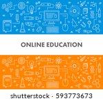 line design concept web banner... | Shutterstock . vector #593773673