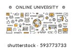 line design concept web banner... | Shutterstock . vector #593773733