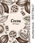 vector frame with cocoa. hand... | Shutterstock .eps vector #593778617