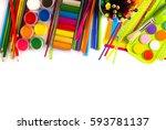 school and office supplies... | Shutterstock . vector #593781137
