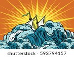 retro sailing ship sinks in... | Shutterstock .eps vector #593794157