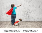little superhero with dog | Shutterstock . vector #593795207