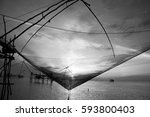 Silhouette Of Square Dip Nets...