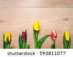 Flowers On Wooden Background ...