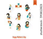 happy mothers day simple flat... | Shutterstock .eps vector #593812823