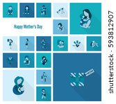 happy mothers day simple flat... | Shutterstock .eps vector #593812907