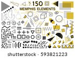 collection of  memphis elements.... | Shutterstock .eps vector #593821223