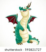 cute cartoon green dragon... | Shutterstock .eps vector #593821727