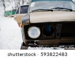 Headlights Of Old Soviet Car O...
