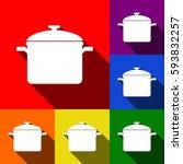 cooking pan sign. vector. set... | Shutterstock .eps vector #593832257