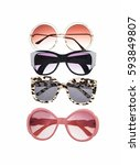 fashionable four sunglasses on... | Shutterstock . vector #593849807