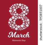 vector illustration  8 of march ... | Shutterstock .eps vector #593851007