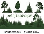 set landscapes  isolated on... | Shutterstock . vector #593851367