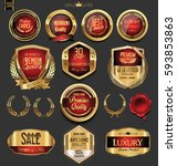 golden badges and labels with... | Shutterstock .eps vector #593853863