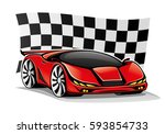 red car and checkered flag. | Shutterstock .eps vector #593854733