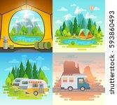 camping concept  tent  caravan  ... | Shutterstock .eps vector #593860493
