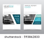 blue annual report cover.... | Shutterstock .eps vector #593862833