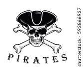 pirate skull with cross bones...   Shutterstock .eps vector #593866937