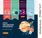 infographic space and universe | Shutterstock .eps vector #593867147