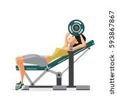young woman with barbell... | Shutterstock .eps vector #593867867
