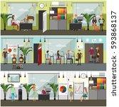 vector set of office interior... | Shutterstock .eps vector #593868137