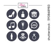 wedding  engagement icons. ring ...   Shutterstock .eps vector #593868983