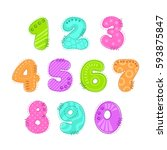 funny colorful numbers patch... | Shutterstock .eps vector #593875847