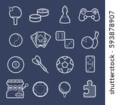 games  videogames linear icons. ... | Shutterstock . vector #593878907