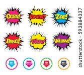 comic wow  oops  boom and wham... | Shutterstock .eps vector #593884337