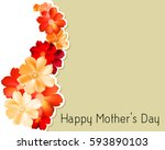 mother's day floral card design | Shutterstock .eps vector #593890103