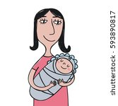 mother's day print | Shutterstock .eps vector #593890817