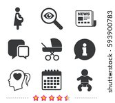 maternity icons. baby infant ... | Shutterstock .eps vector #593900783
