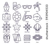cruise  summer line icons.... | Shutterstock . vector #593904533