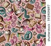 cartoon hand drawn ice cream... | Shutterstock .eps vector #593909897