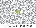 hand drawn floral pattern set... | Shutterstock .eps vector #593910347