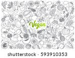 hand drawn vegan food doodle... | Shutterstock .eps vector #593910353