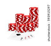 four aces and red poker chips... | Shutterstock .eps vector #593915297