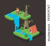 camping isometric background... | Shutterstock .eps vector #593919767
