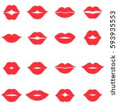 set of red women s lips icons... | Shutterstock . vector #593935553
