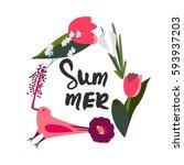 summer frame. vector... | Shutterstock .eps vector #593937203